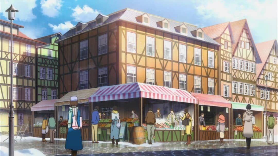 ごちうさの舞台となる木組みの街のスクリーンショット - アニメ2期の第一話より