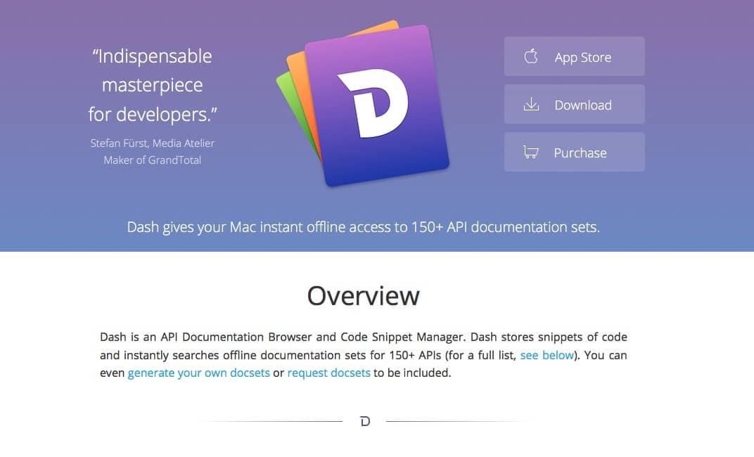 MacアプリDashのHPのスクリーンショット