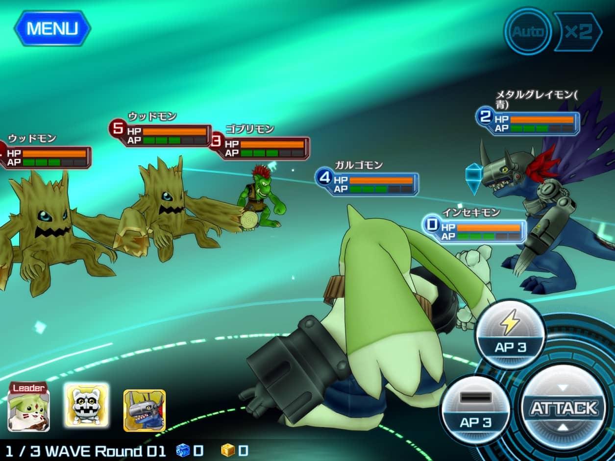 デジモンリンクスでの戦闘画面