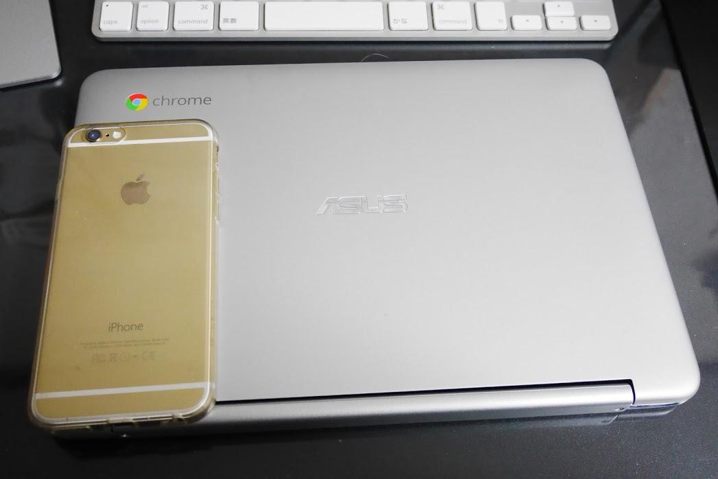 Chromebook-ASUS-C100PA-iPhone6と比較